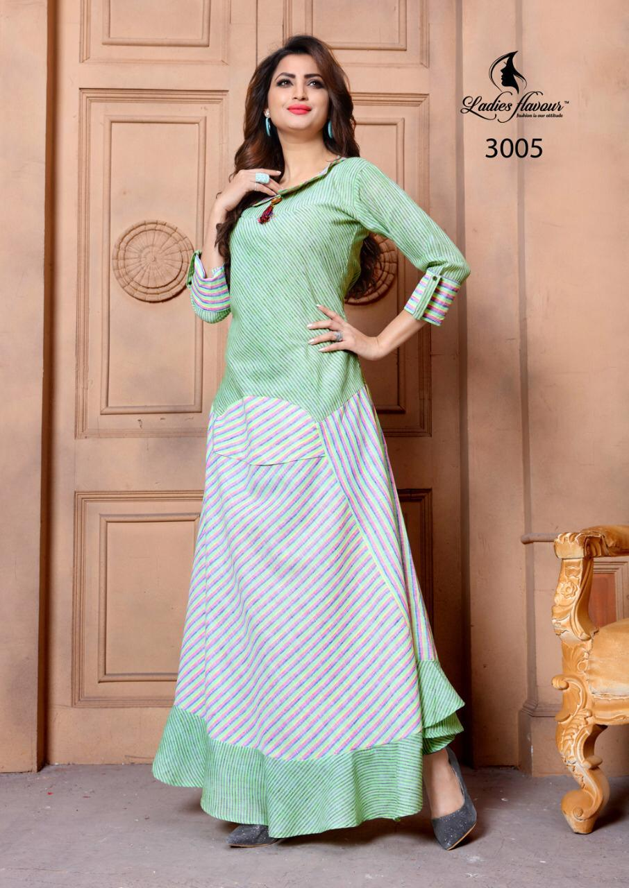 Ladies Flavour Long Designer Cotton Kurtis