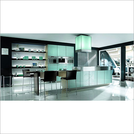 HI-Gloss Lequered Glass Modular kitchen