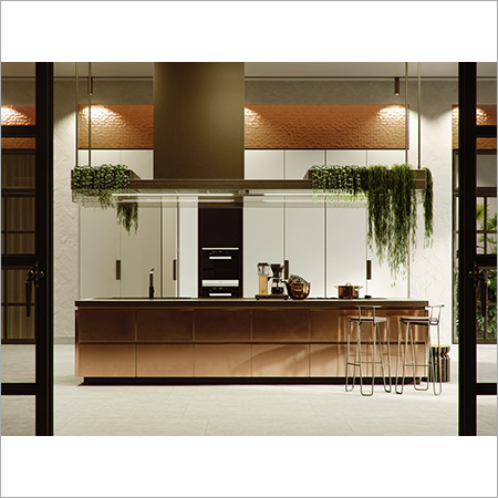 Matt Lequred Glass Modular Kitchen
