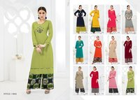 EMBROIDERED RAYON KURTI WITH PALAZZO