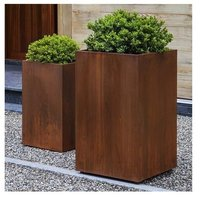 TALL CUBE INDOOR & OUTDOOR METAL PLANTER RUST STEEL