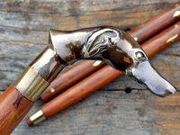 ANTIQUE DOG DESIGNER SOLID Victorian Wooden Brass Handle Walking Stick Cane