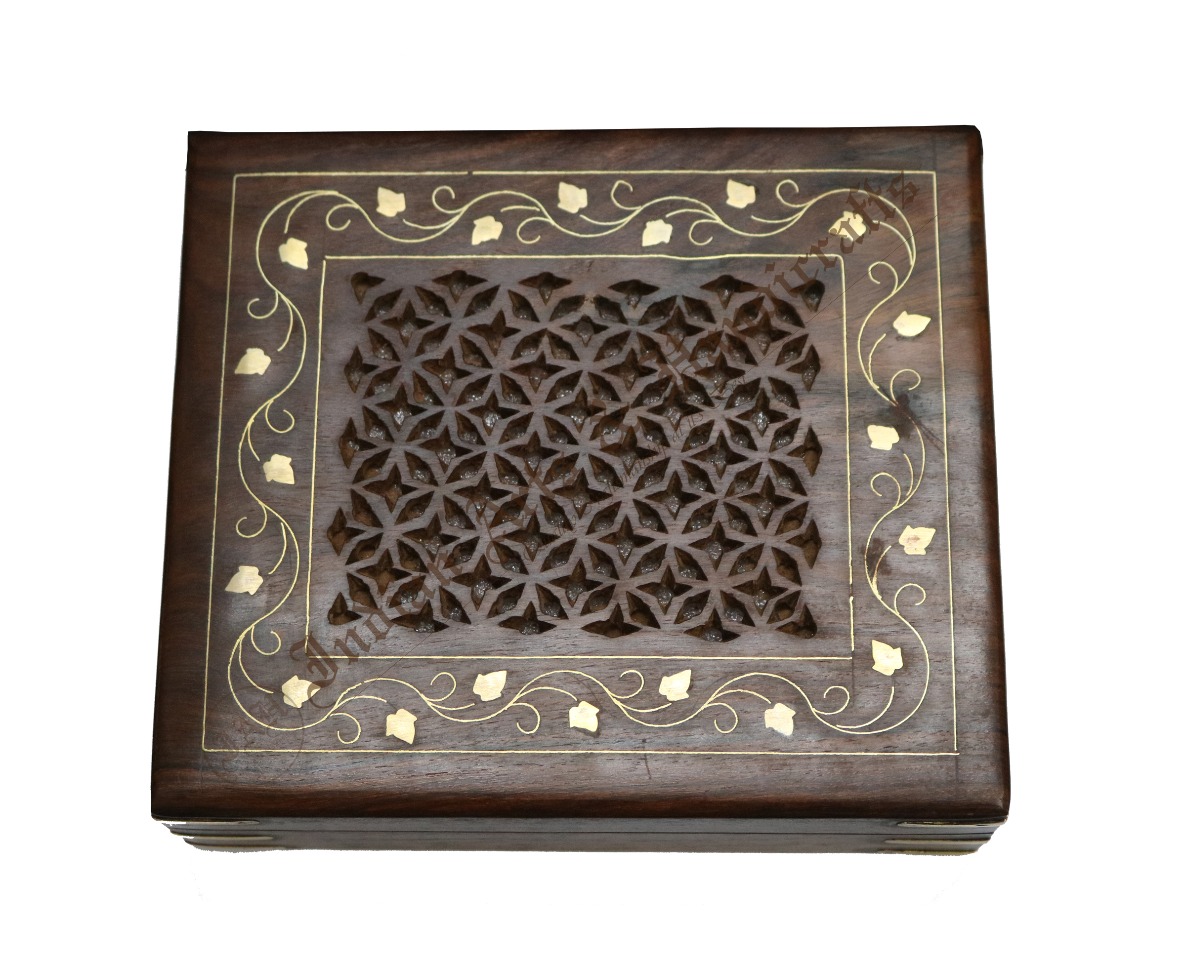 Carving with Brass Inlay Wooden Box