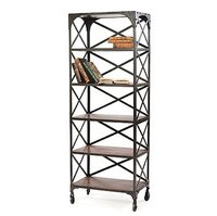 Industrial Cross Bookshelves with Top
