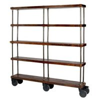 Industrial Bookshelf with Wheel Big