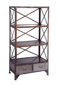 Industrial Cross Bookshelf With 2 Drawer