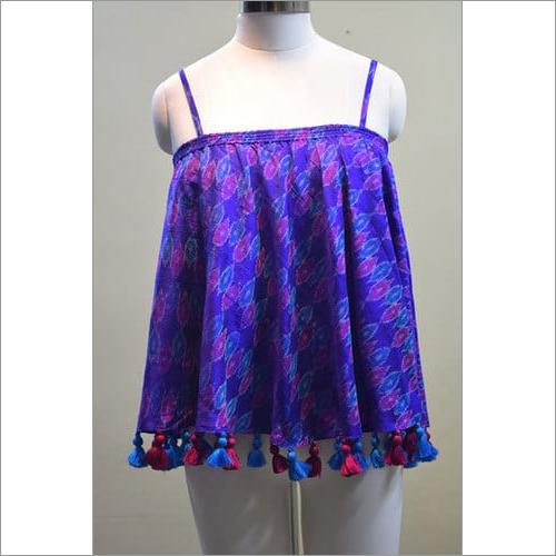 Silk Ikkat Shoulder Off Dress
