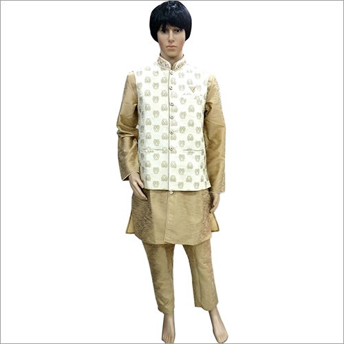 Mens Designer Golden Kurta Pyjama With koti