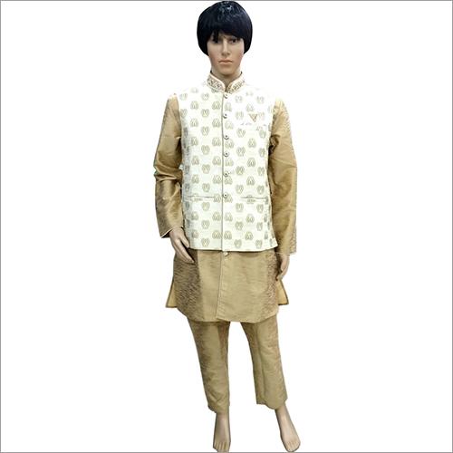 Mens Designer Golden Kurta Pyjama With koti