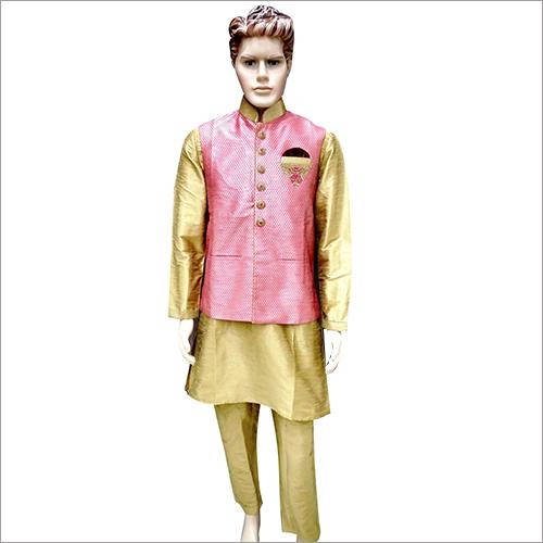 Mens Fancy Golden Kurta Pyjama With Pink koti