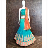 Ladies Embroidered Unstitched Ghagra Choli Material