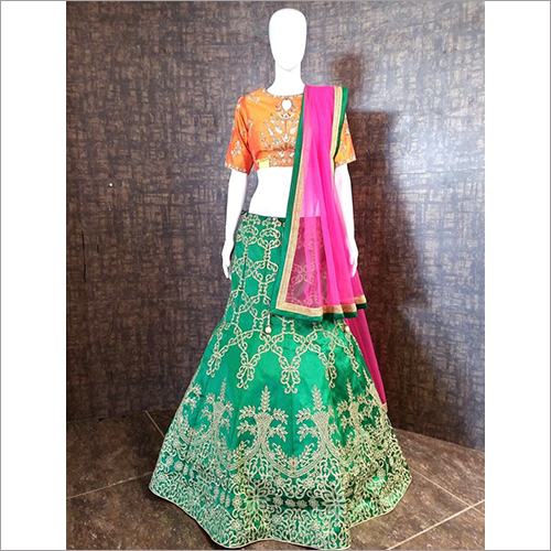Ladies Fine Embroidered Unstitched Ghagra Choli Materia