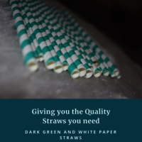 Dark Green and White Straw