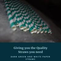 Dark Green and White Straw