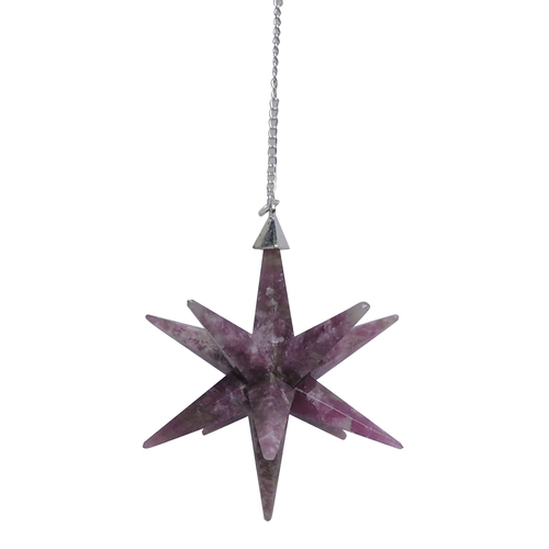 Natural Lepidolite Galaxy Merkaba Star with Healing & Home Protection