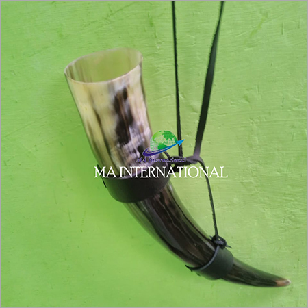 BUFFALO DRINKING HORN WITH LEATHER HOLDER