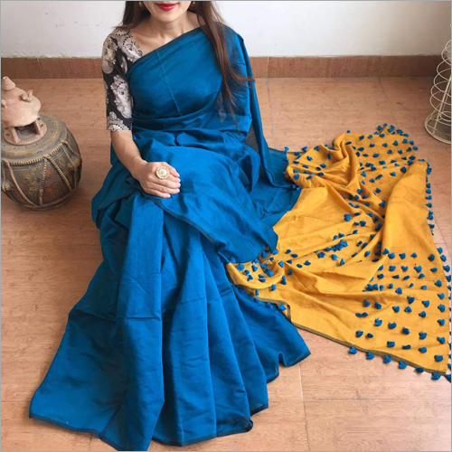 Slik Cotton Pallu Pom Pom Saree