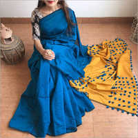Silk Cotton Pallu Pom Pom Saree
