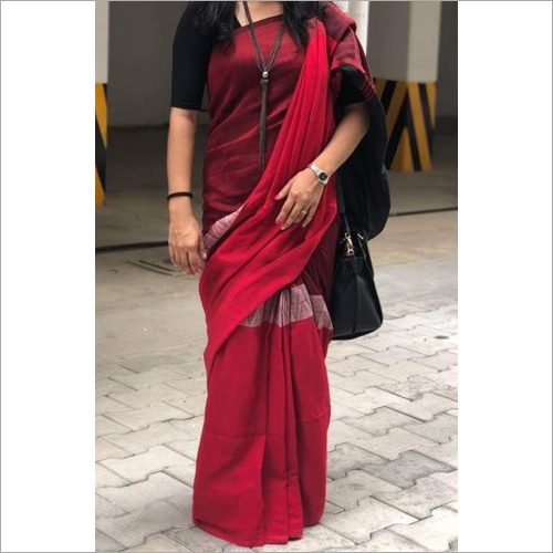 Ladies Cotton Red Saree