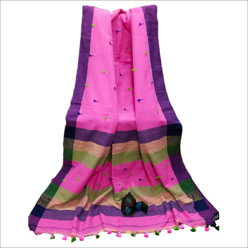 Pom Pom Border Cotton Saree