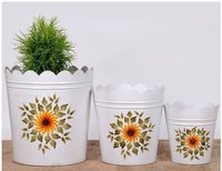 White Sunflower Planter Set of Three