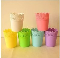 Metal Colorful Half Lace Bucket For Flower Pots