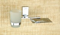Brass Soap Dish With Glass Tumbler Holder