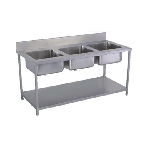 Three Sink Dish Wash Unit Table