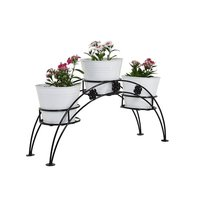Iron 3 Tier Pot Stand With Metal Planter White