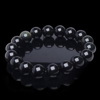 Natural Stone Black Obsiadian Beads Bracelet for Grounding & Self Confidance