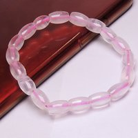 Natural Stone Rose Quartz Faceted Long Beads Bracelet for unconditional Love