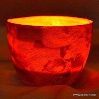 Antique-Style Glass Votive Red Fancy Fair Round
