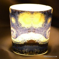 Round Hand Paints Glass Tea Light Printing Candle