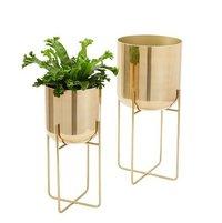 Spun Metal Standing Planter Brass