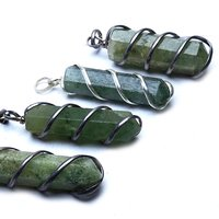 Natural Stone Energised Green Aventurine Wrapped Energy  Point Pendant
