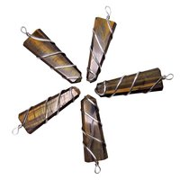 Natural Stone Tiger Eye Wrapped Flat Point Pendant