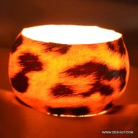 Color Decorative Votive Candle Holders Metal Pillar Candle Holders with Clear Glass Printing