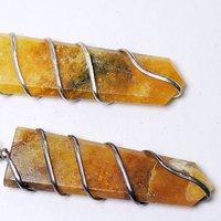 Natural Stone Yellow Quartz Flat Wrapped Pendant