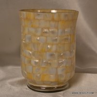 MOTHER OF PEARLS GLASS CANDLE HOLDER