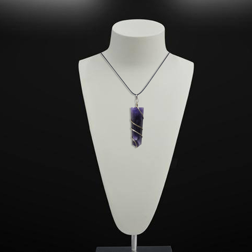 Natural Stone Amethyst Flat Wrapped Pendant For Mind