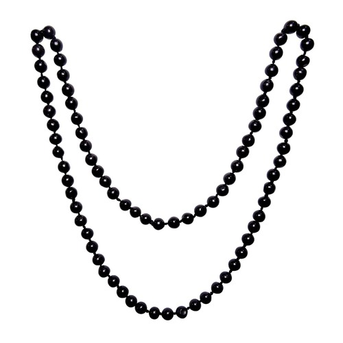 Natural Stone Black Agate Necklace 8 mm. Beads