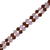 Natural Stone Rudraksha and Natural Clear Quartz Semi-Precious Stone Necklace