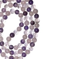 Natural Stone Tri-Quartz Necklace for Anger Control and Healing(8 mm. Bead)