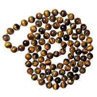 Natural Stone Tiger Eye Semi-Precious Mala for Prosperity