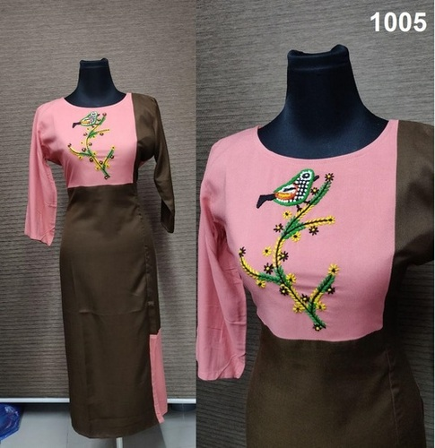 RAYON WITH HANDWORK KURTIS