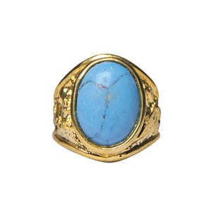 Natural Stone Turquoise (Firoza) Ring for Men Gold Plated Oval Shape
