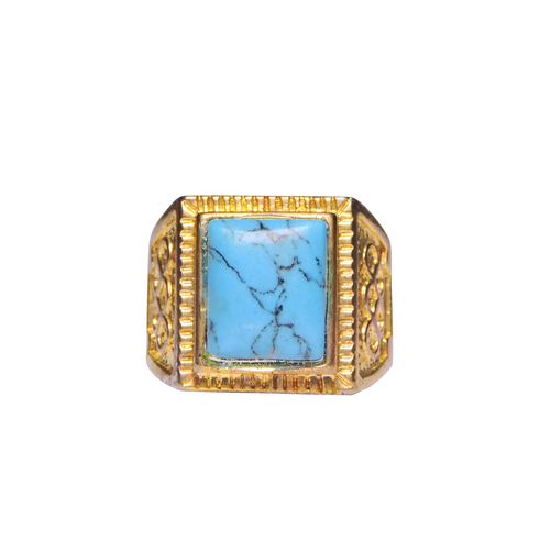 Natural Stone Turquoise (Firoza) Ring For Men Gold Plated Rectangular Shape