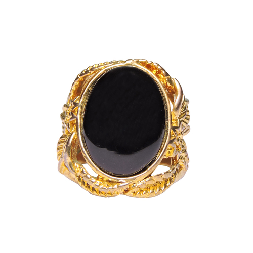 Natural Stone Black Agate Ring For Men Gold Plated Oval Shape