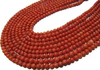Natural Red Coral Round Shape 4mm Plain Smooth Beads Strand 13 I