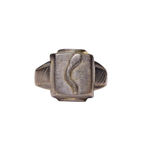Natural Stone Black Metal Ring For Men